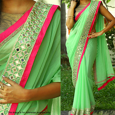 Green Georgette Saree with Pink Border