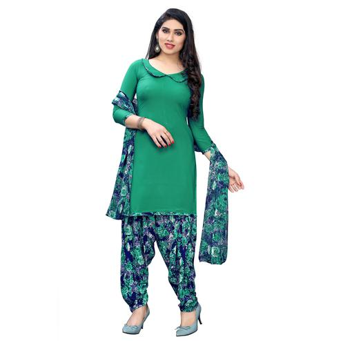 Desirable Green Colored Casual Wear Printed Crepe Dress Material