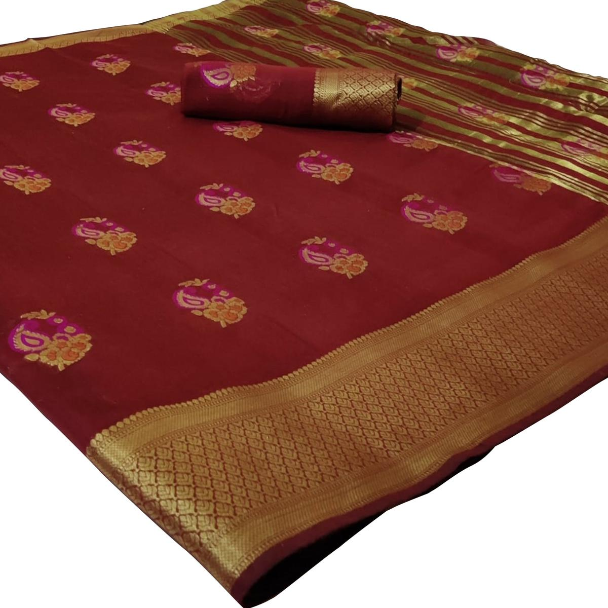 Fantastic Maroon Colored Festive Wear Woven Cotton Silk Saree