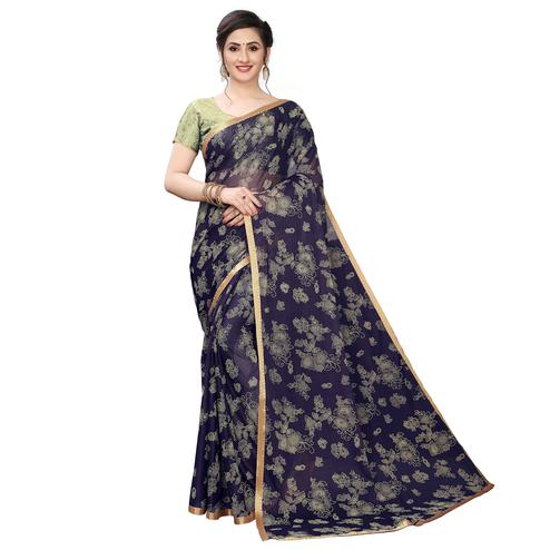 Trendy Navy Blue Colored Casual Wear Printed Lycra Blend Saree