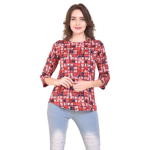 OMADAM - Red Colored Casual Checked Printed Crepe Top