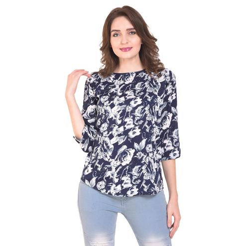 OMADAM - Navy Blue Colored Casual Floral Printed Crepe Top