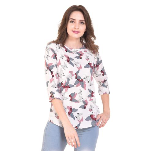 OMADAM - White Colored Casual Printed Crepe Top
