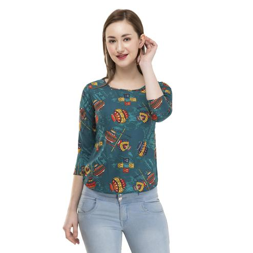 OMADAM - Teal Green Colored Casual Printed Crepe Top