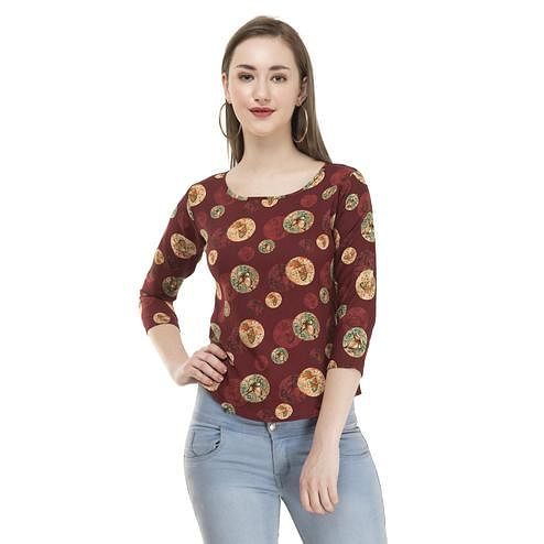 OMADAM - Brown Colored Casual Printed Crepe Top