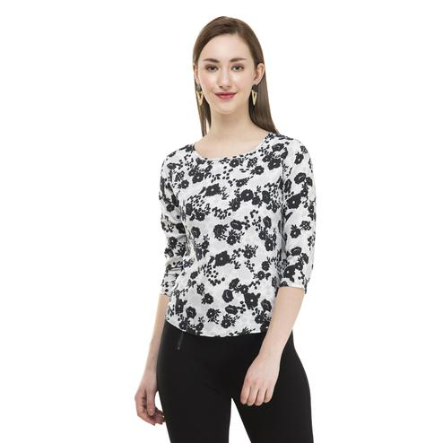OMADAM - White Colored Casual Floral Printed Crepe Top