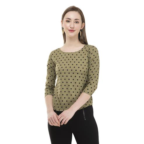 OMADAM - Olive Green Colored Casual Polka Dot Printed Crepe Top