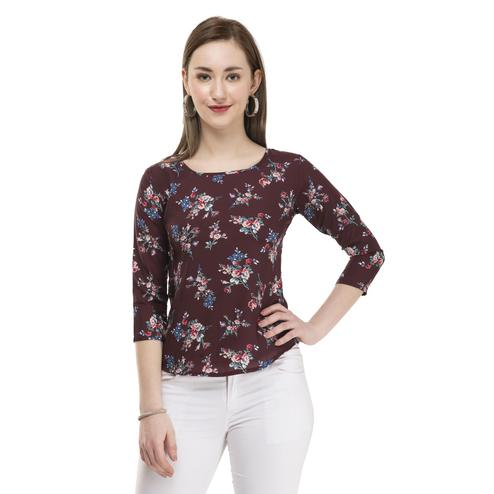 OMADAM - Maroon Colored Casual Floral Printed Crepe Top