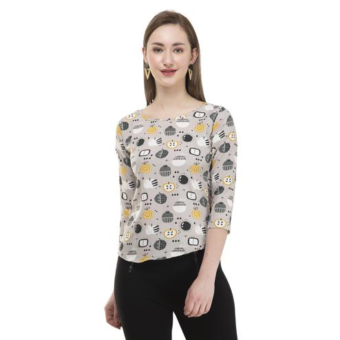 OMADAM - Multi Colored Casual Printed Crepe Top