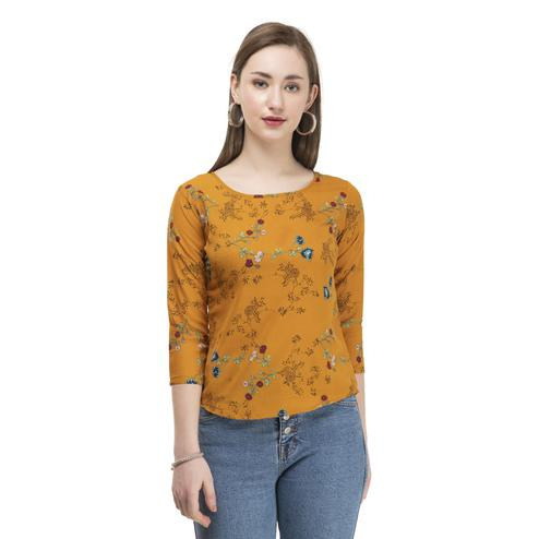 OMADAM - Orange Colored Casual Floral Printed Crepe Top
