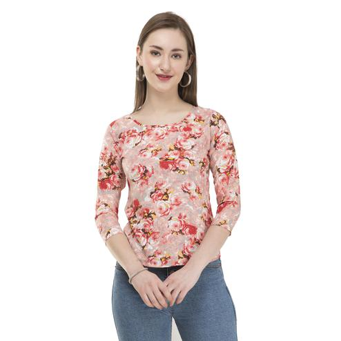 OMADAM - Pink Colored Casual Floral Printed Crepe Top
