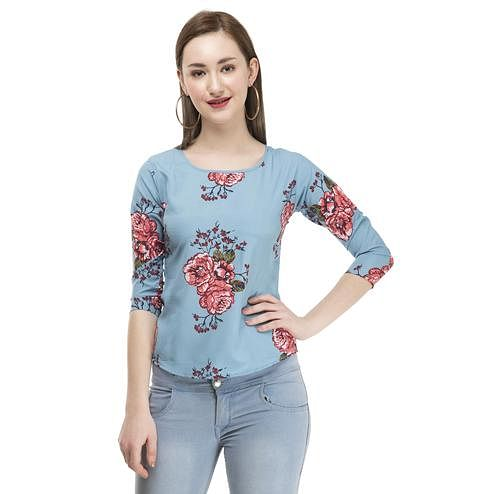 OMADAM - Blue Colored Casual Floral Printed Crepe Top