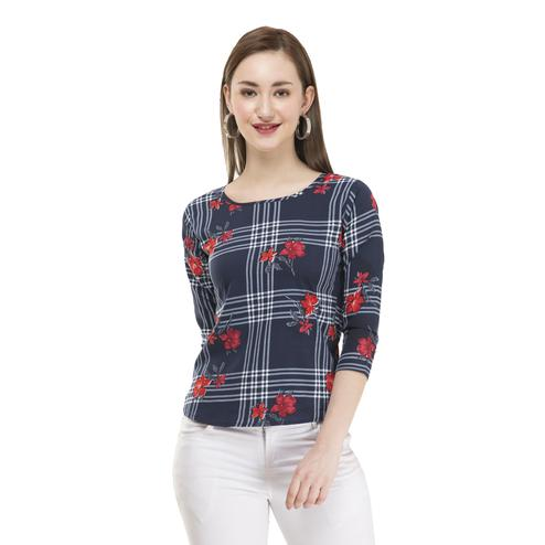 OMADAM - Navy Blue Colored Casual Checked-Floral Printed Crepe Top