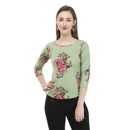 OMADAM - Pista Green Colored Casual Floral Printed Crepe Top