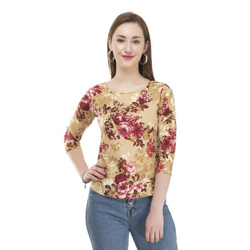 OMADAM - Beige Colored Casual Floral Printed Crepe Top