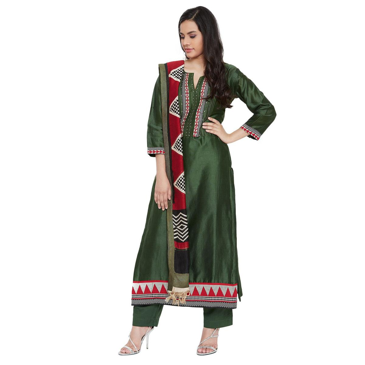 Vastrangana Delightful Green Colored Party Wear Embroiered Naayaab Silk-Cambric Cotton Dress Material