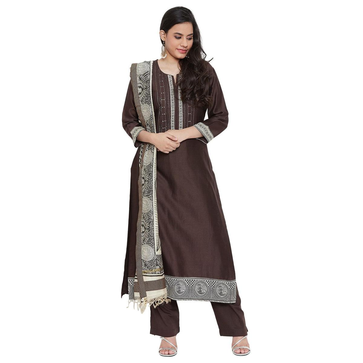 Vastrangana Gorgeous Brown Colored Party Wear Embroiered Naayaab Silk-Cambric Cotton Dress Material