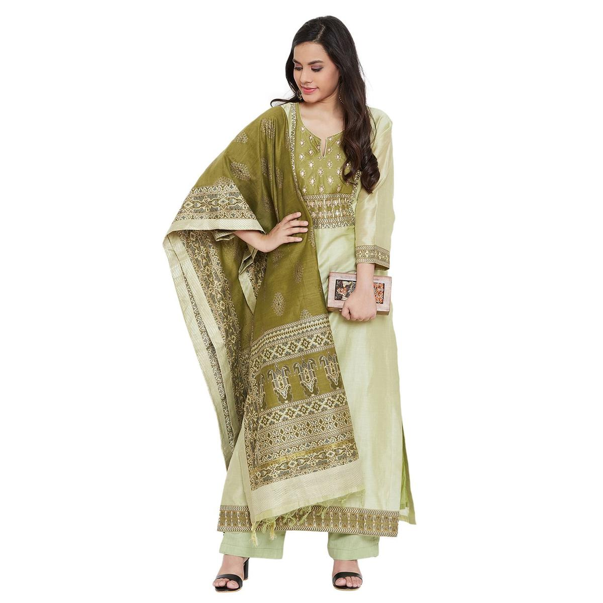 Vastrangana Majesty Green Colored Party Wear Embroiered Silk-Cambric Cotton Paakeeza Dress Material
