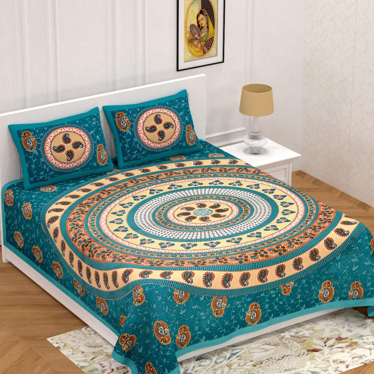 Desirable Green Colored Jaipuri Print Cotton Double Bedsheet with 2 Pillow Cover