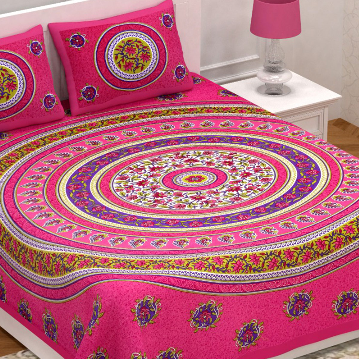Energetic Pink Colored Jaipuri Print Cotton Double Bedsheet with 2 Pillow Cover