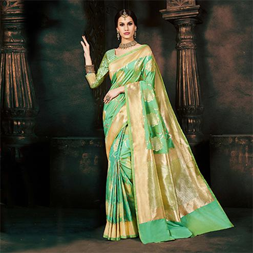 Elegant Pastel Green Silk Woven Traditional Saree