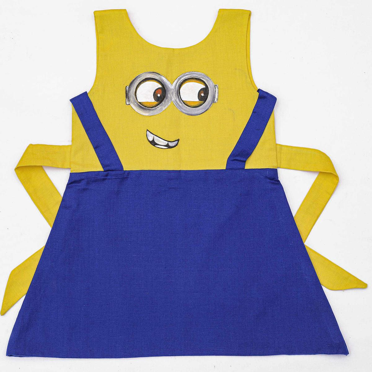 Trendy Yellow-Blue Colored Casual Wear Cotton Dress For Girls