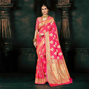 Royal Pink Silk Woven Traditional Wear Saree