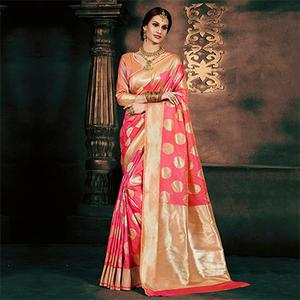 Gorgeous Pink Banarasi Silk Traditional Saree