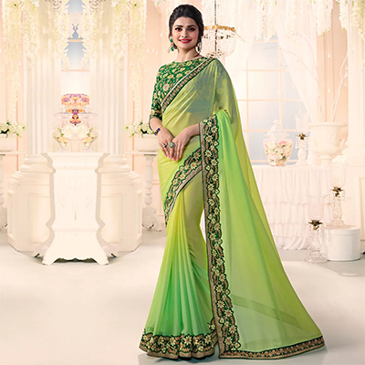 Gorgeous Green Party Wear Embroidered Saree Chiffon Saree