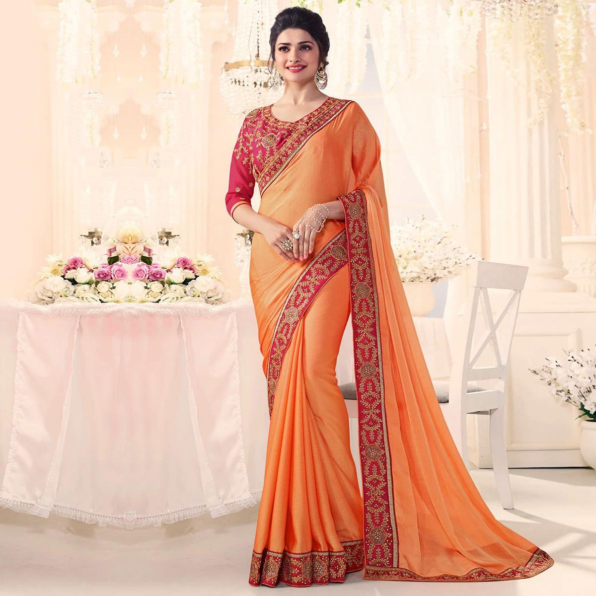 Flamboyant Orange Party Wear Embroidered Silk Saree