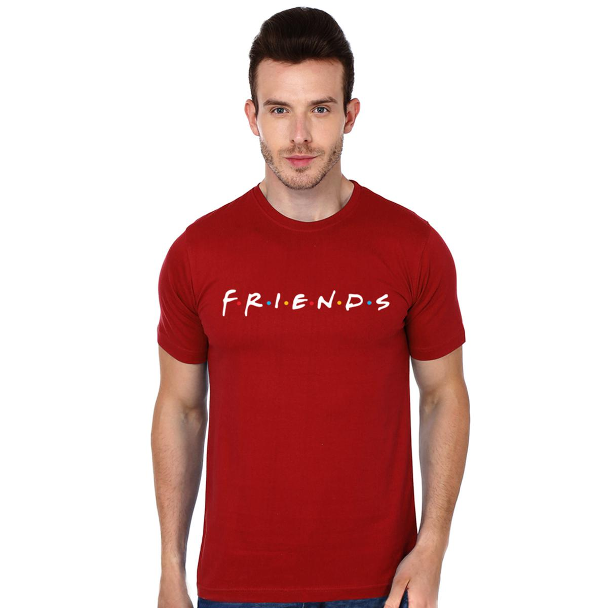Energetic Red Colored Casual Wear Cotton T-Shirt