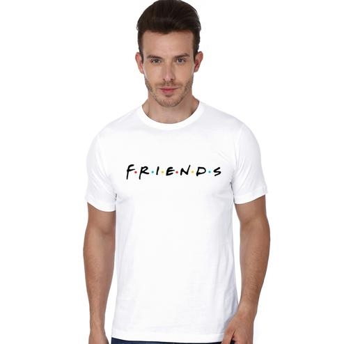 Glowing White Colored Casual Wear Cotton T-Shirt