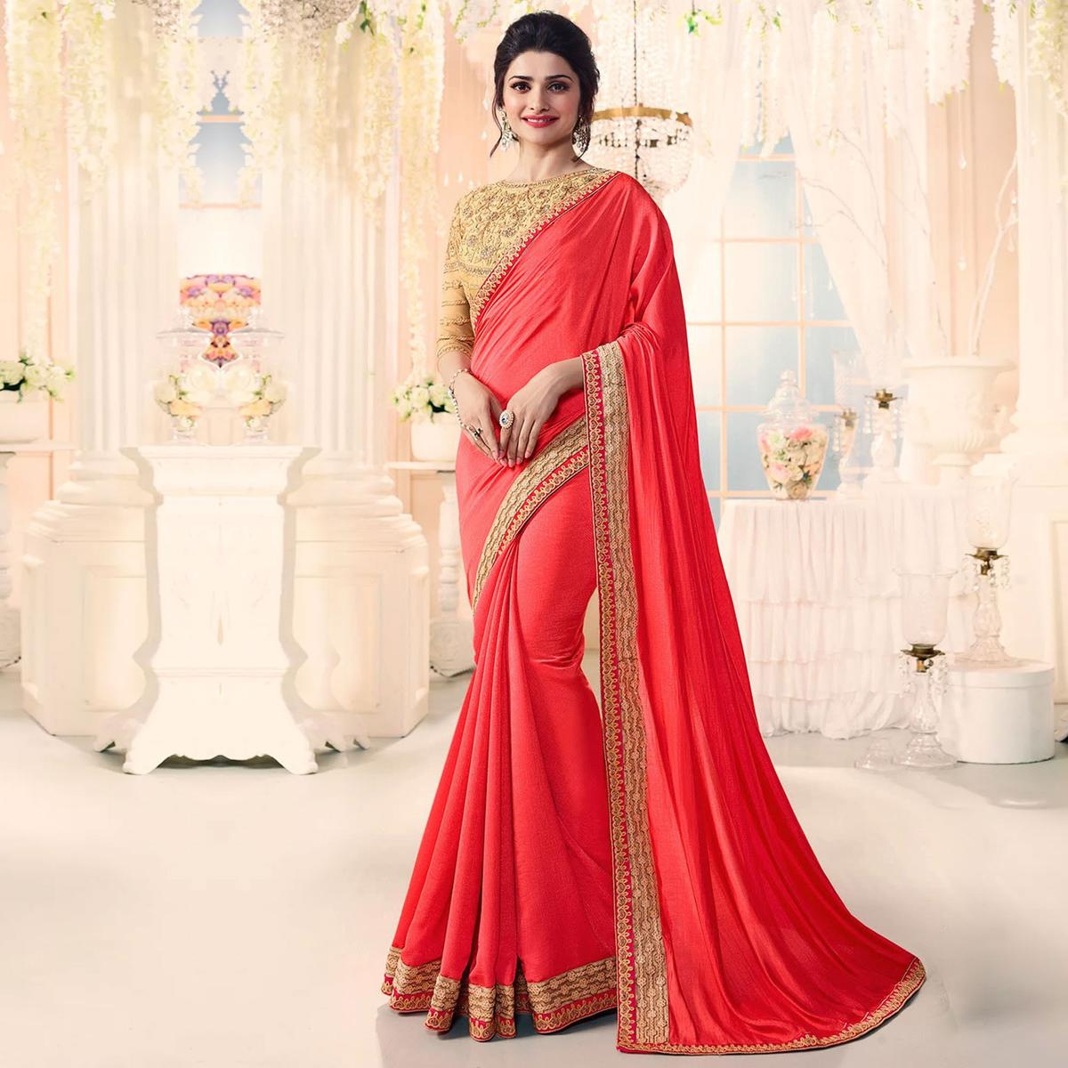 Charismatic Coral Party Wear Embroidered Sai Chiffon Saree