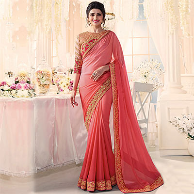 Mesmerising Peach Party Wear Embroidered Sai Chiffon Saree