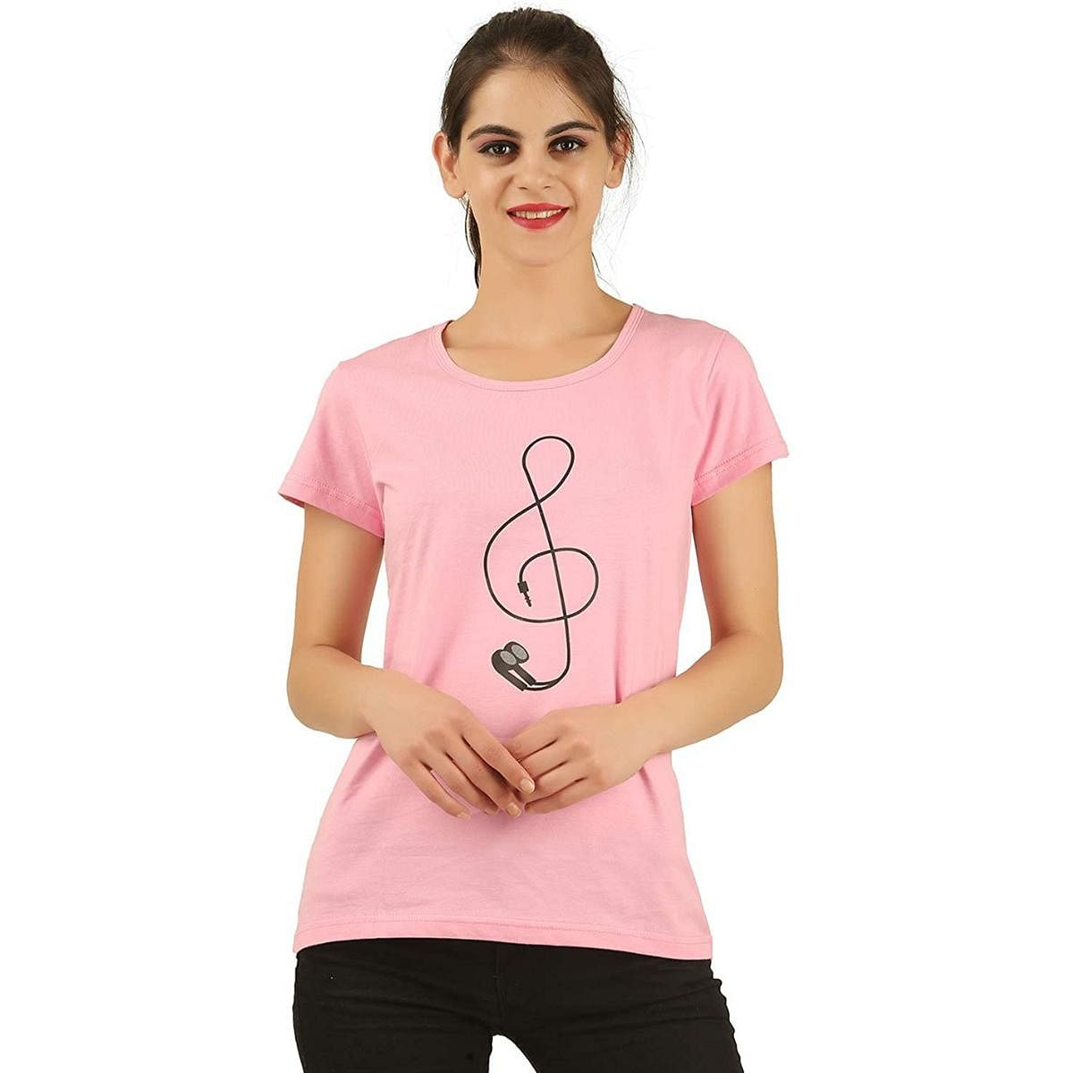 Captivating Pink Colored Casual Wear Cotton T-Shirt