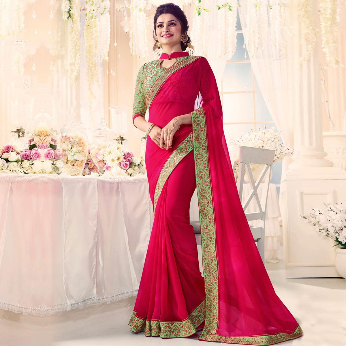Stunning Pink Party Wear Embroidered Georgette Saree