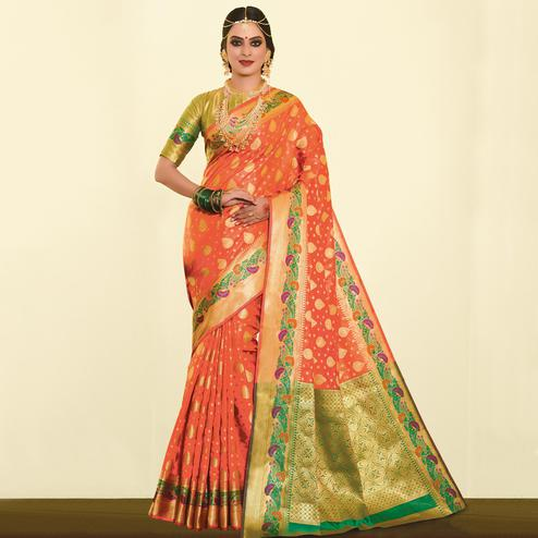 Blooming Peach Colored Festive Wear Woven Silk Saree