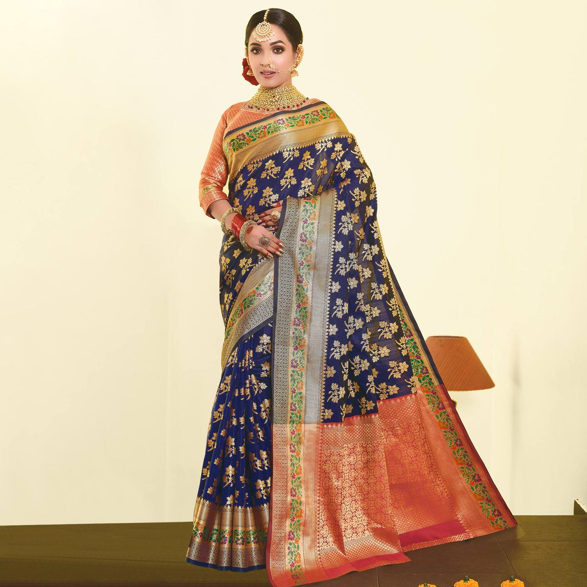 Charming Blue Colored Festive Wear Woven Silk Saree