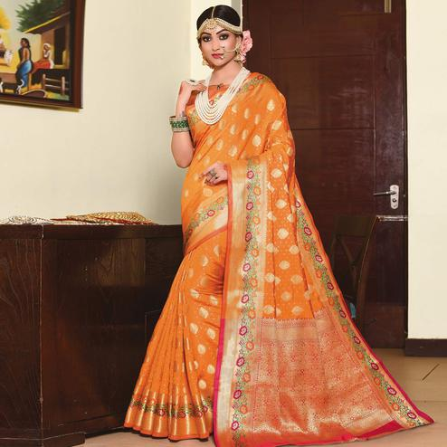 Engrossing Orange Colored Festive Wear Woven Silk Saree