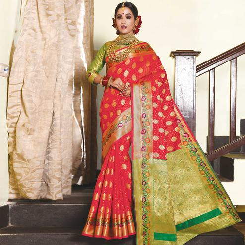 Captivating Coral Red Colored Festive Wear Woven Silk Saree