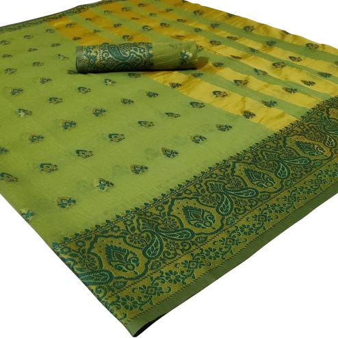 Flaunt Green Colored Festive Wear Woven Cotton Silk Saree