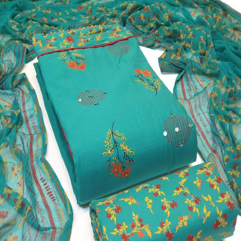 Delightful Turquoise blue Colored Partywear Embroidered Cotton Dress Material