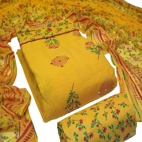 Engrossing Yellow Colored Partywear Embroidered Cotton Dress Material