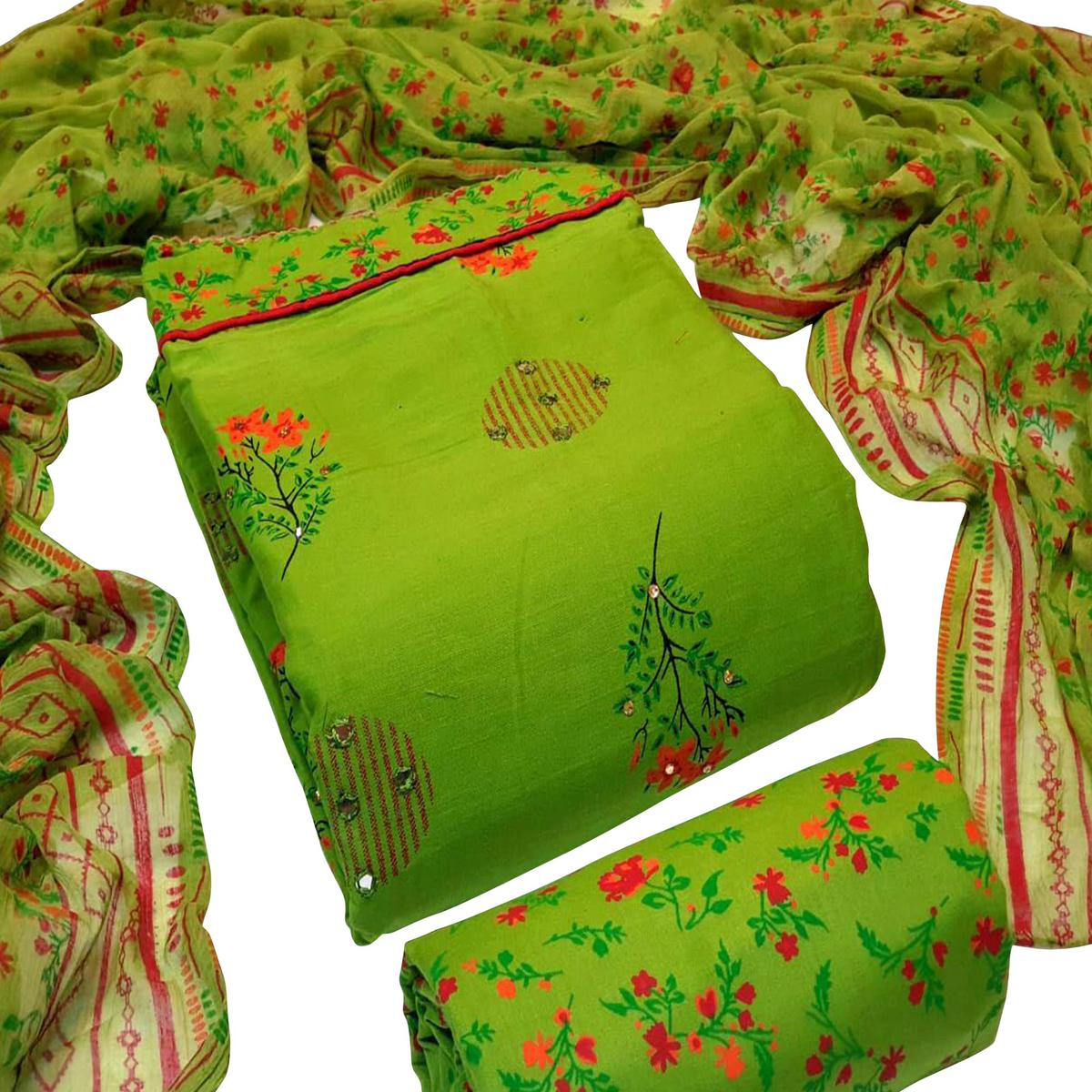 Captivating Green Colored Partywear Embroidered Cotton Dress Material