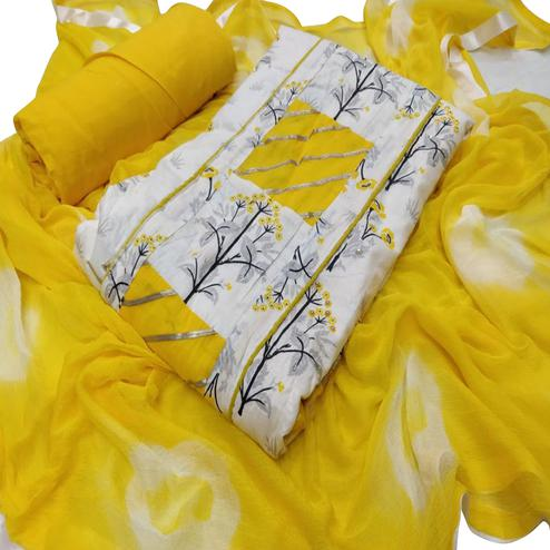 Radiant White - Yellow Colored Casual Printed Cotton Dress Material