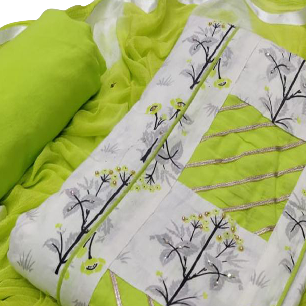 Opulent White - Green Colored Casual Printed Cotton Dress Material