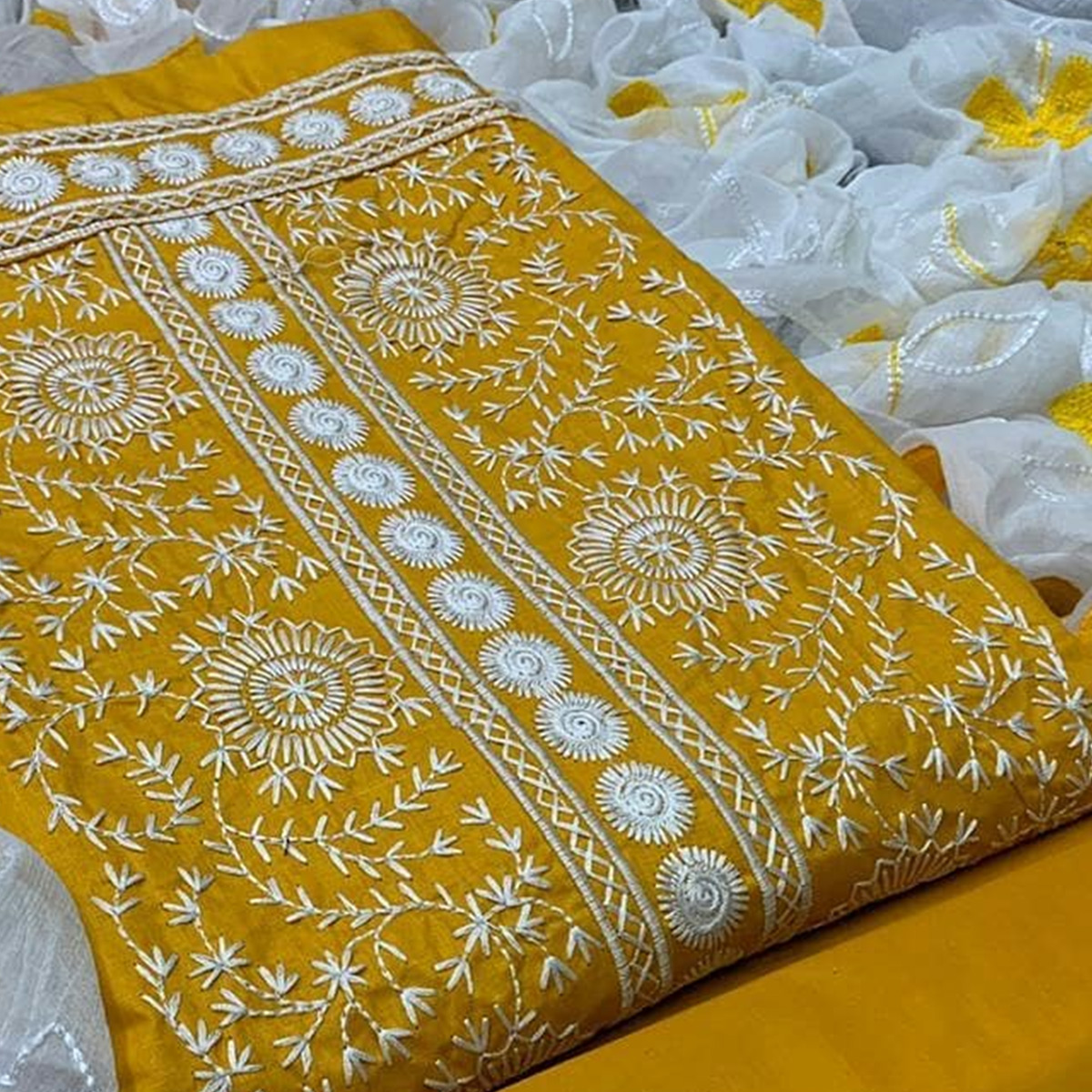 Energetic Mustard Yellow Colored Partywear Embroidered Cotton Dress Material