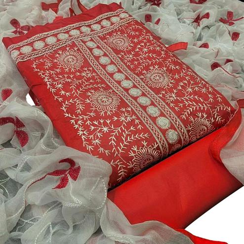 Glowing Red Colored Partywear Embroidered Cotton Dress Material