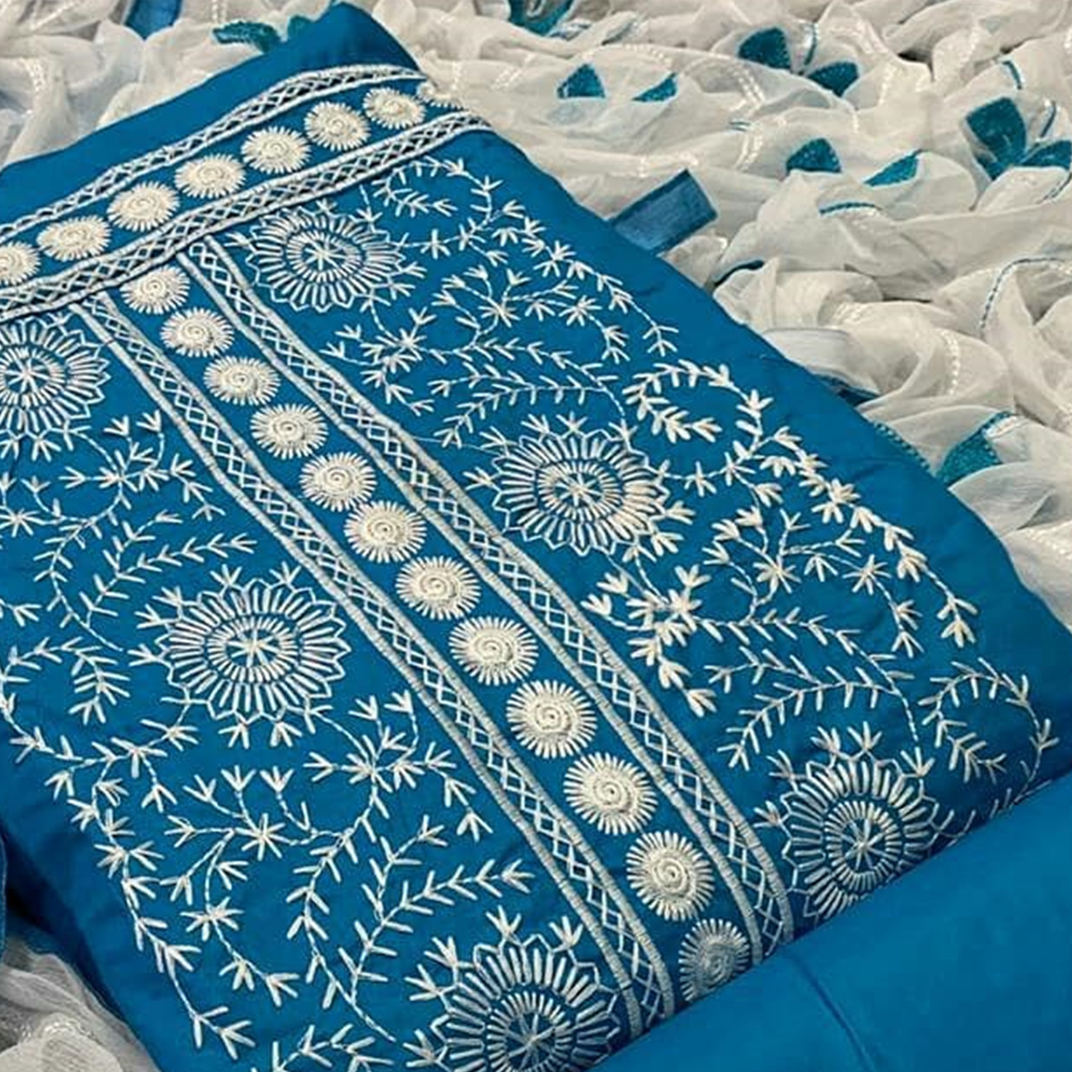 Exceptional Blue Colored Partywear Embroidered Cotton Dress Material