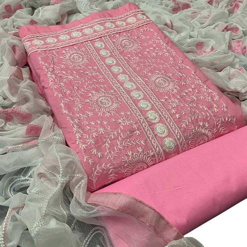 Gleaming Pink Colored Partywear Embroidered Cotton Dress Material